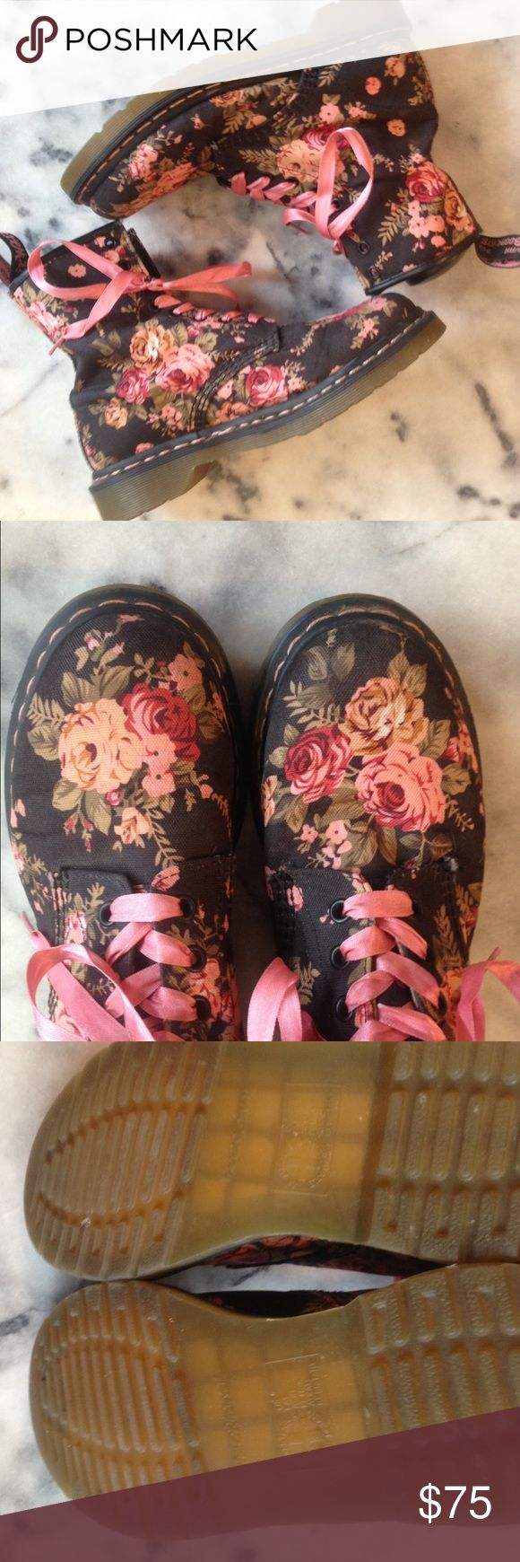 Doc Martens Floral Canvas Docs One pair of Floral Doc Martens, Size 'womens' US8 EU39 UK6, worn once. Pink ribbon laces included, but removable. Doc Martens Shoes