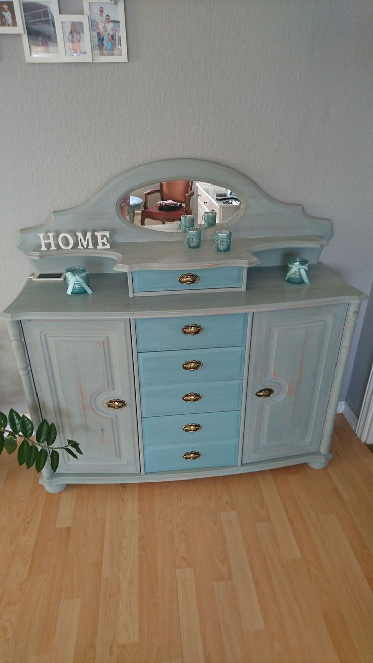 My favorite commode painted Duck egg blue