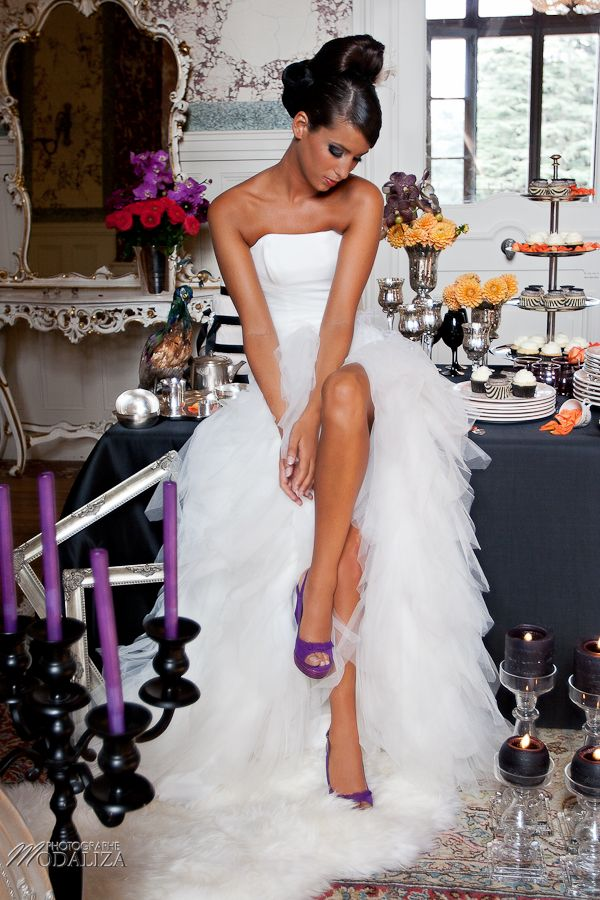 photo mode inspiration mariage decoration argent noir violet wedding bride mariée shoes chaussures baroque rock fashion chateau grenade www.modaliza.fr