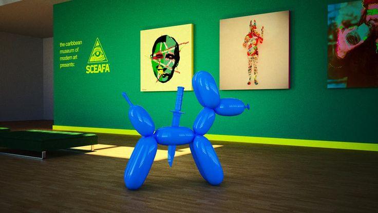 Sceafa's art exhibited in a museum (C.M.O.M.A.)... #caribbean #museum #modern #art #sceafa #groningen #sxm