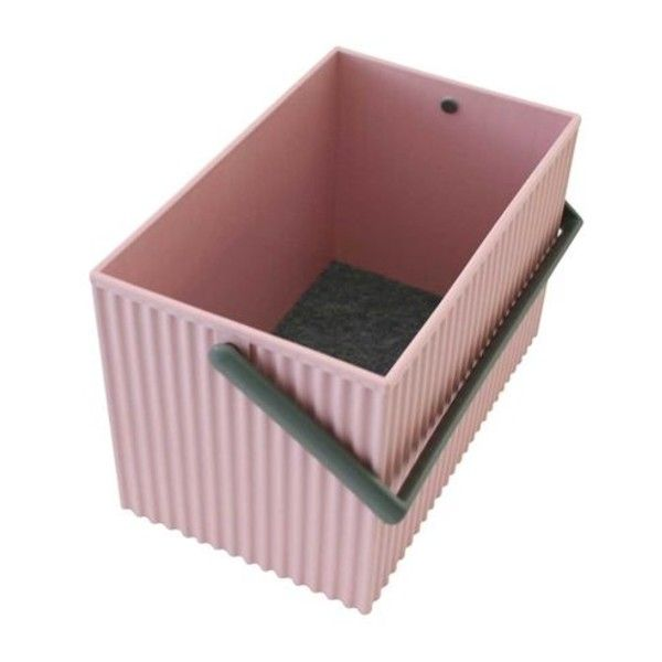 Medium Rose Pink With Grey Handles Omnioffre Carry Storage Box ($19) ❤ liked on Polyvore featuring home, home decor, small item storage, stackable storage boxes, gray boxes, stacking boxes, pink storage boxes and grey box
