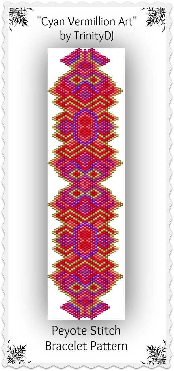 """New pattern listed in my Etsy shop: """"Cyan Vermillion Art"""" - Shaped Peyote Stitch Bracelet Pattern - One of a Kind In The Raw Design. Please follow this link for more info: https://www.etsy.com/listing/171451894/bp-pey-019-cyan-vermillion-art-shaped"""
