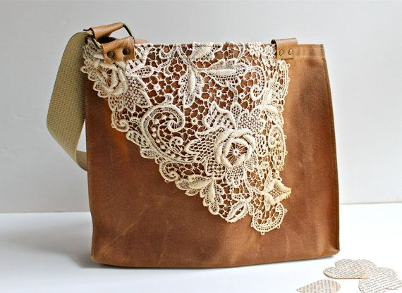 Waxed Canvas Lace Tote Bag -Women's Shoulder Bag - Vintage Lace - Rusty Brown