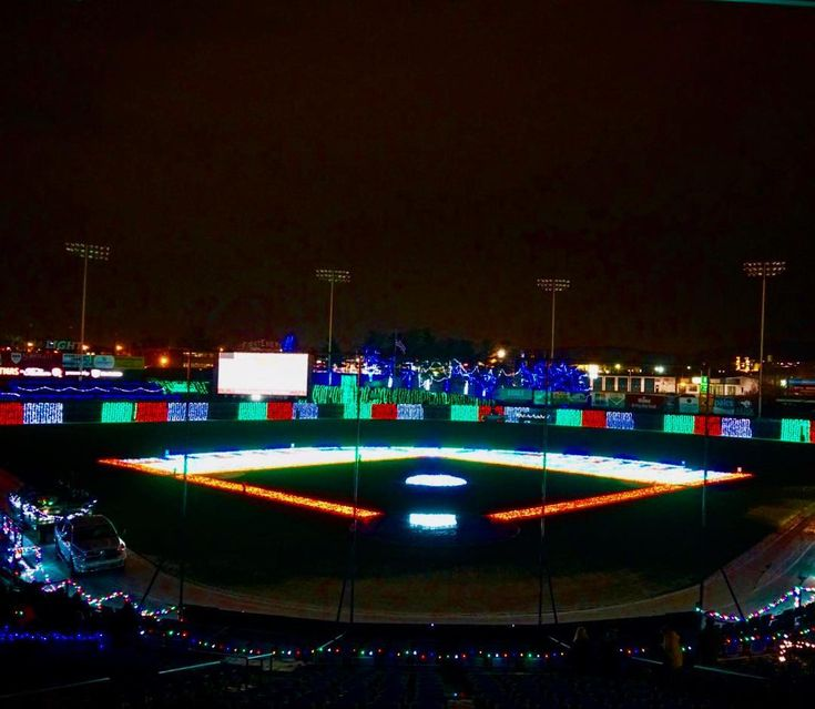 Christmas light at the Reading Phillies stadium. #phillies #readingphillies #christmas #christmaslight #baseball #baseballstadium #stadium