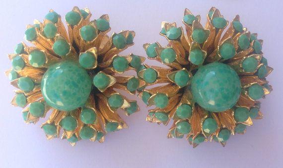 1950s earrings vintage goldtone and jade by AgainAgainVintage, $28.00