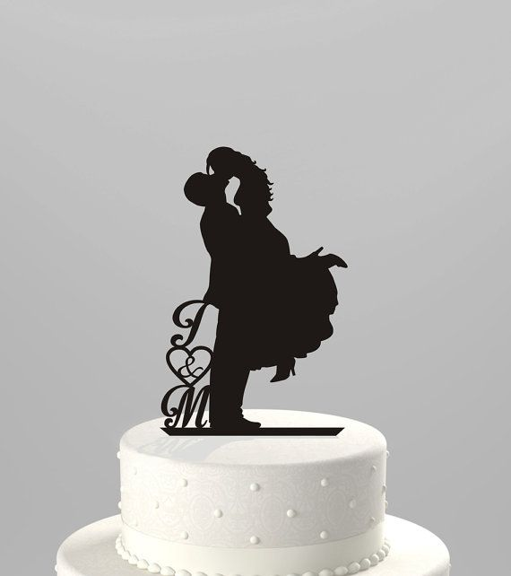 Wedding Cake Topper Silhouette with Couples initials, Acrylic Cake Topper [CT18d]