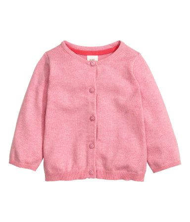 Fine-knit cardigan in soft cotton with a round neck and buttons down the front