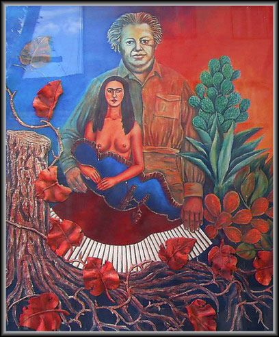 """Frida Kahlo - Homage_01 (National Museum in Sabac, Serbia); a variation on """"Love Embrace The Universe..."""" (1949) 