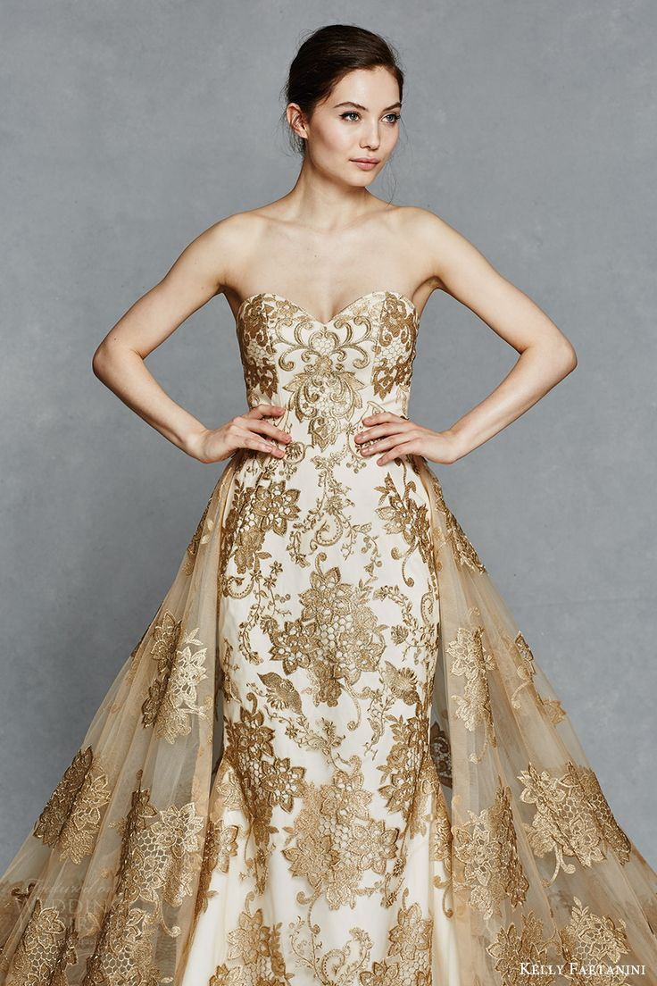 1000 ideas about gold wedding dresses on pinterest gold for Color embroidered wedding dress