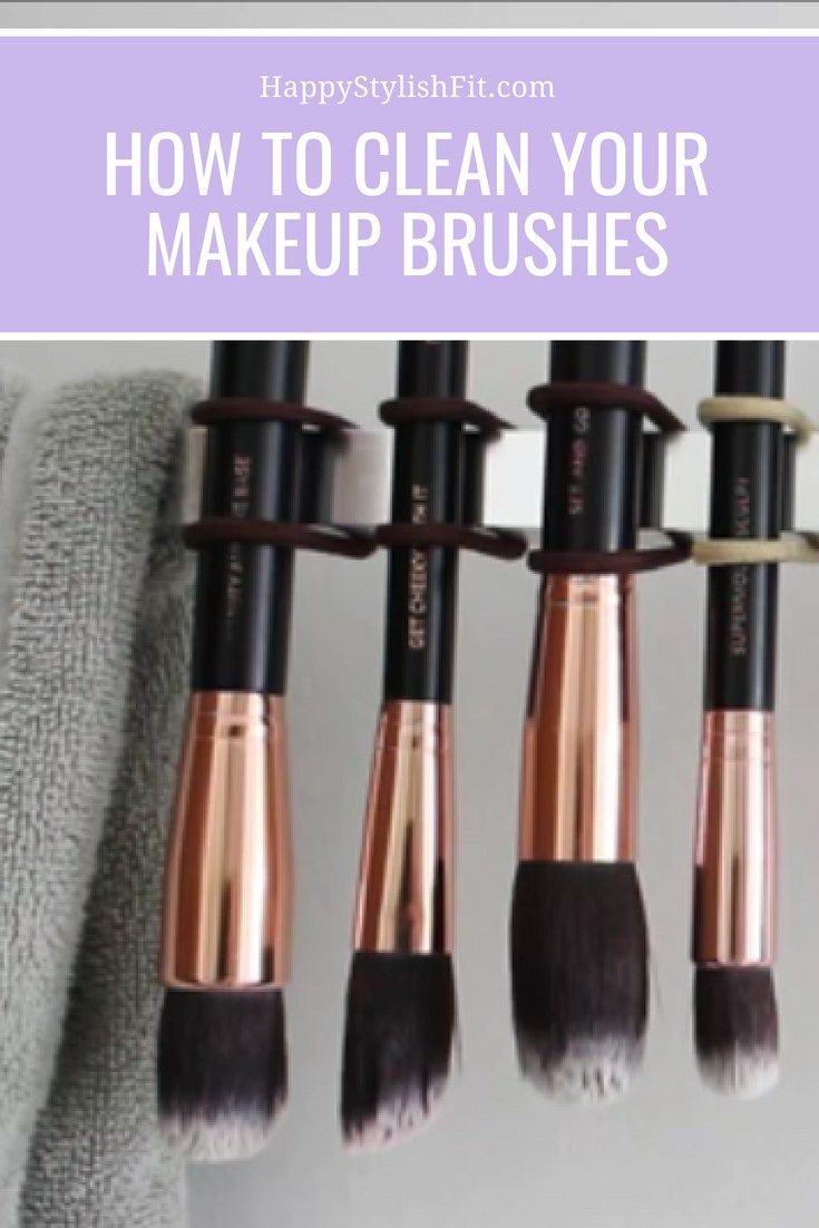 How to clean your makeup brushes at home using a #diy #makeup brush cleaner. // Happy Stylish Fit