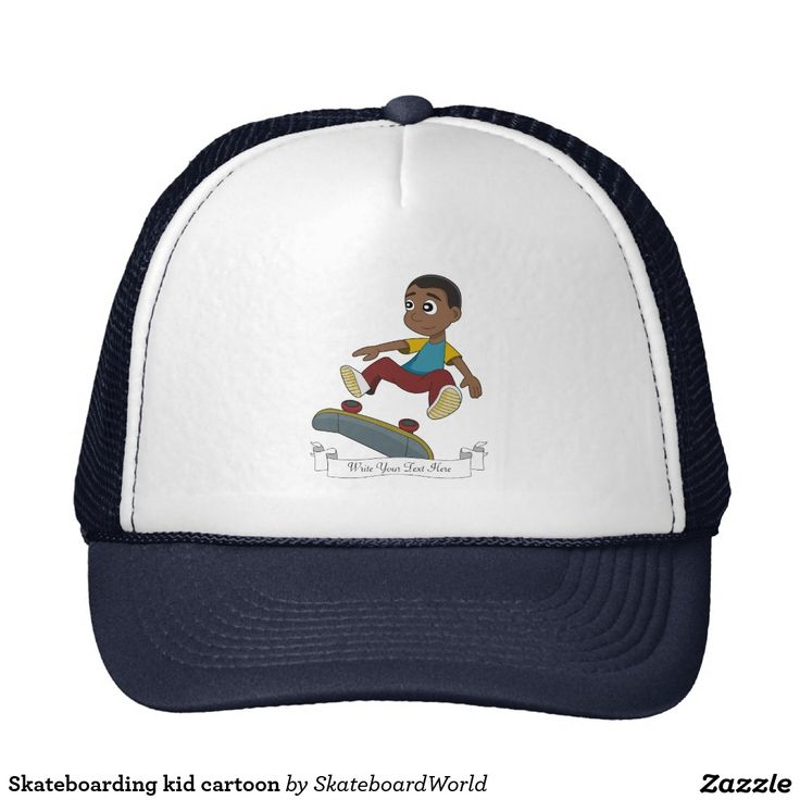 Skateboarding kid cartoon trucker hat