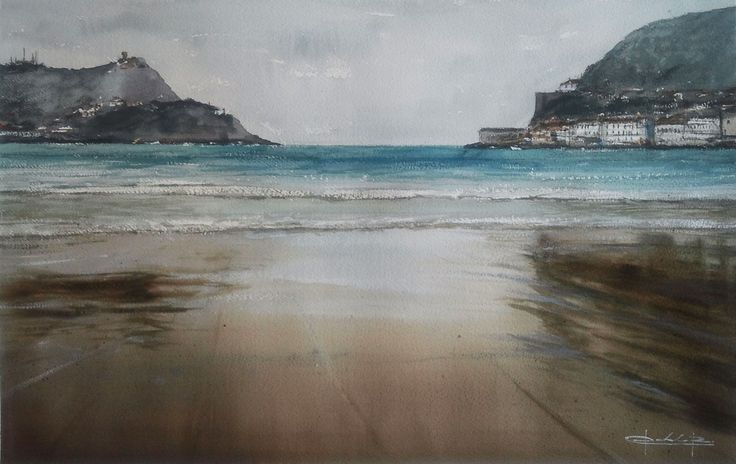 """La Concha"" San Sebastian, Basque Country, watercolour by Pablo Rubén lópez, Madrid, Spain. Available      bpbilbao@gmail.com"