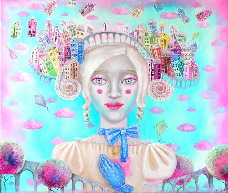 Влюбленный город \ Town in love холст\масло oil on canvas 80*70cm 2016 #oilpainting #oiloncanvas #illustration #painting #fantasy #inspiration