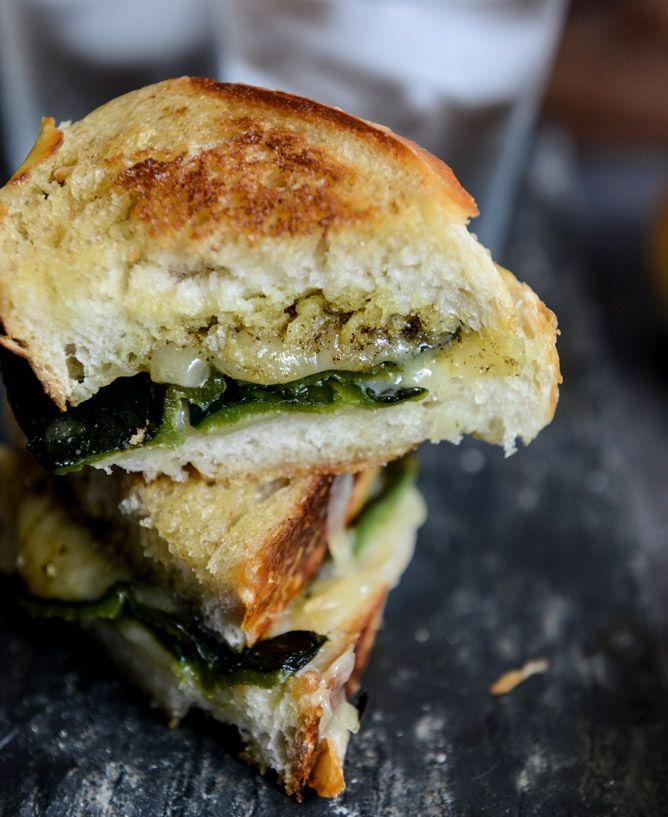 sourdough grilled cheese with roasted poblanos, smoked cheddar, and curried brown butter