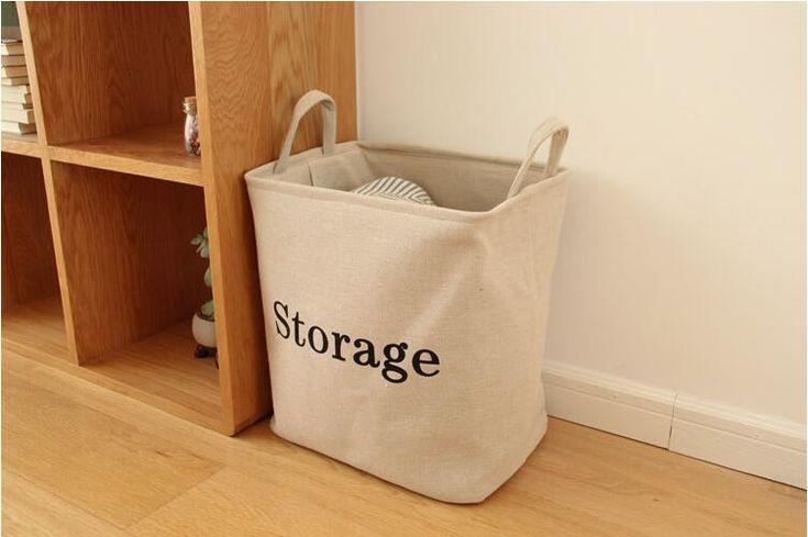 Large Storage Bag Eco-friendly Foldable Linen Cotton Laundry Basket Bucket Sundries Toys Storage Baskets Organizer Home Storage