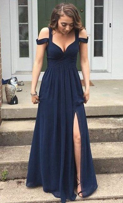 Sexy Navy Prom Dress with Slit Skirt Graduation Dresses Formal Dress For Teens pst1560
