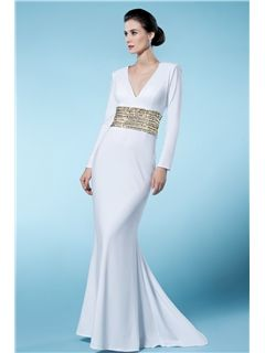 Classical Sheath/Column V Neck Long Sleeves Sequined Mother of the Bride Dress Mother of the Bride Dresses 2014- ericdress.com 10776113