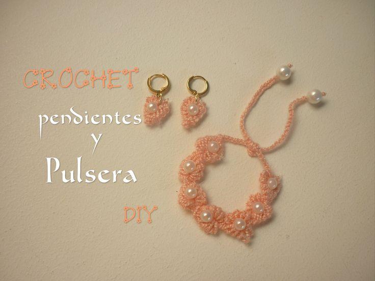 Manualidades: CROCHET (PULSERA y PENDIENTES) DIY- CROCHET (bracelet and ...