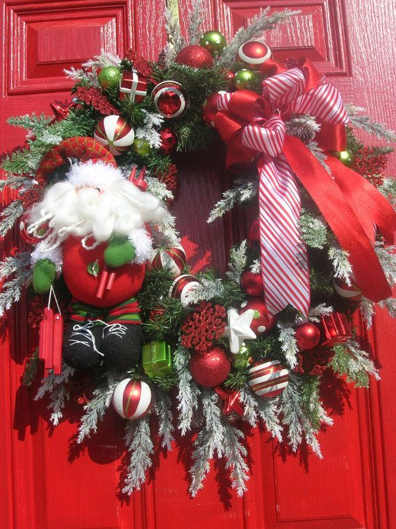 Christmas WreathSanta Wreath Holiday Wreath by hollyhillwreaths, $135.00