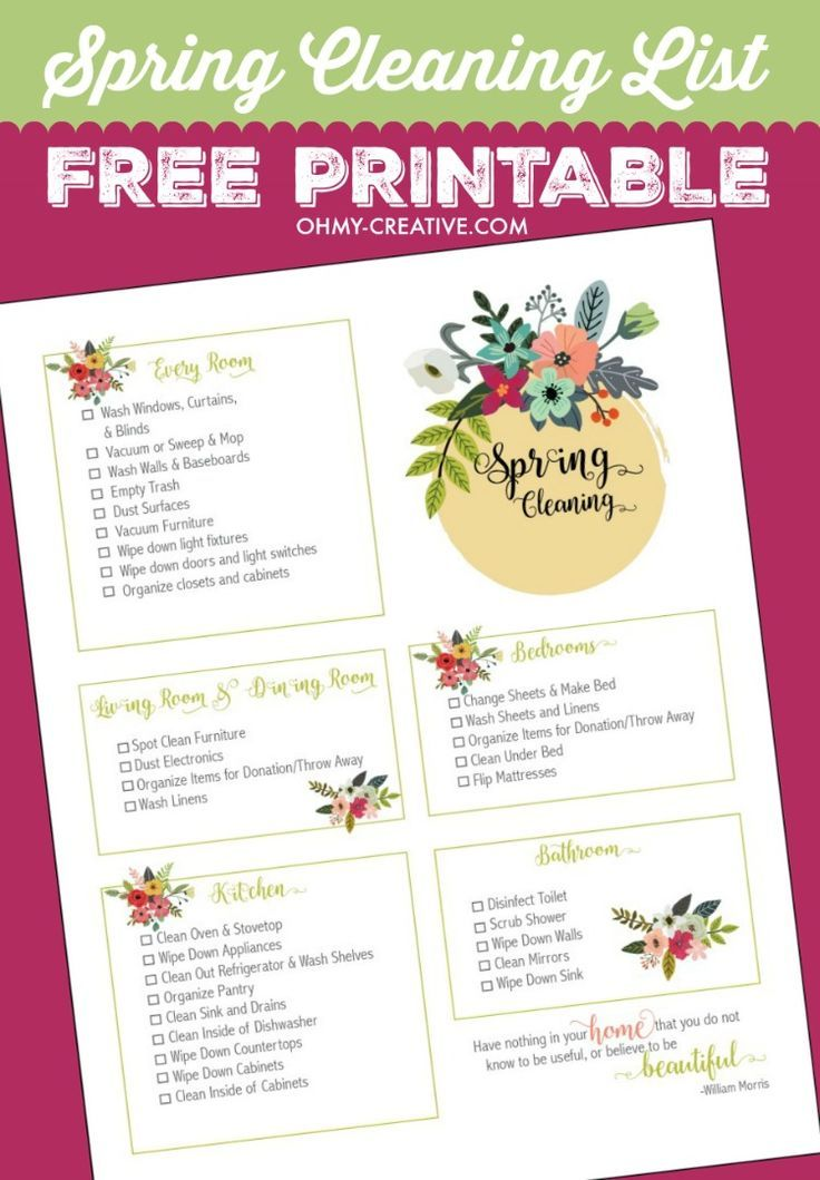 81 best Free Cleaning Printables images on Pinterest Cleaning - spring cleaning checklist