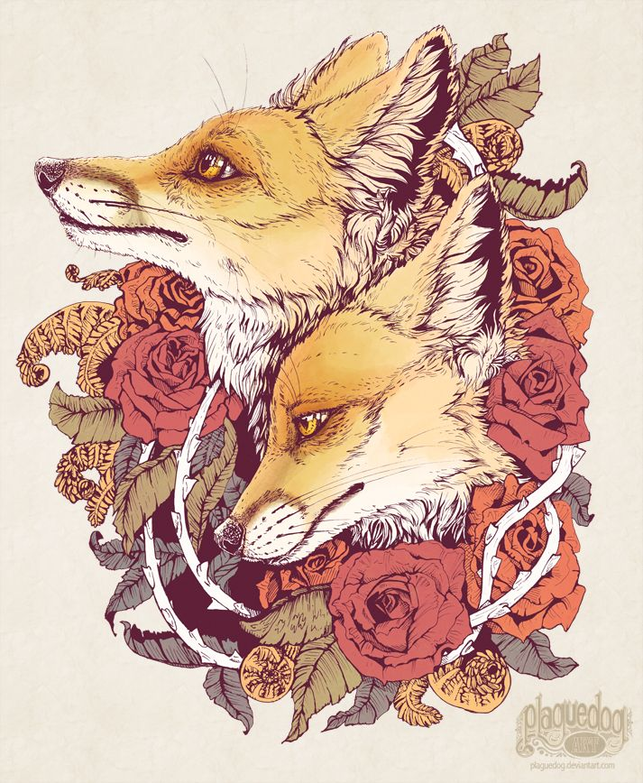 """Plaguedog Art by K. Lamphere """"""""Red Fox Bloom""""      New piece, now available on redbubble:      http://www.redbubble.com/people/plaguedog/works/12301281-red-fox-bloom"""""""