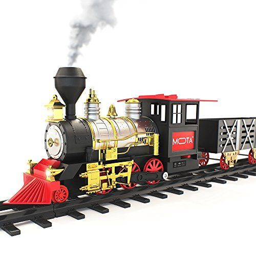 MOTA Classic Toy Train with Real Smoke - Signature Lights and Sounds - Full Set with Locomotive Engine and Cars, Tracks - Toys 4 My Kids