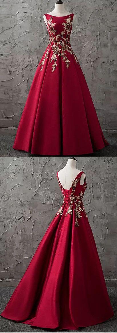 A-line Bateau Floor-length Sleeveless Satin Prom Dress/Evening Dress # VB871 #satin #red #fashion #long #prom #popular #A-line #evening #Appliques