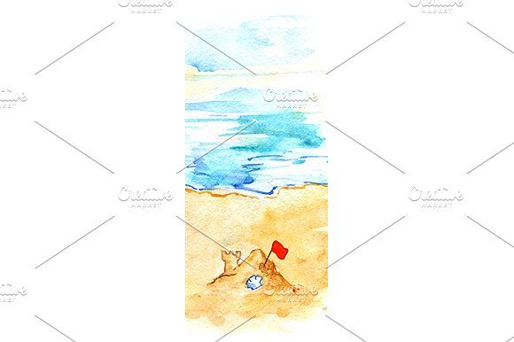 Watercolor ocean beach sand castle by Art By Silmairel on @creativemarket