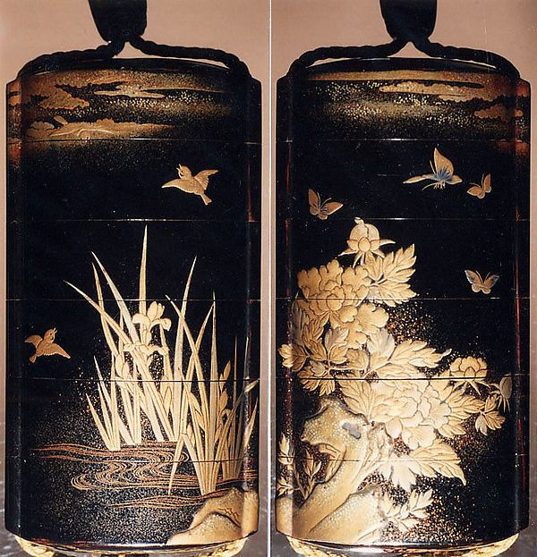 Case (Inrō) with Design of Birds in Flight above Flowering Iris (obverse); Butterflies above Flowering Peony (reverse), 18th–19th century. Japan. The Metropolitan Museum of Art, New York. Rogers Fund, 1913 (13.67.90)