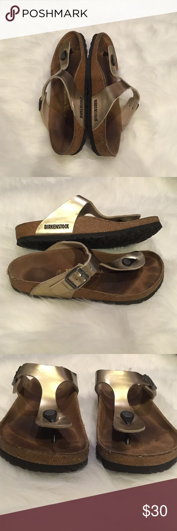 Birkenstock Gizeh' Birko-Flor Gold Birkenstock Gizeh' Birko-Flor Gold. Gently used. Great condition. No flaws. These are a size 7-7 1/2 per the Birkenstock sizing chart. They say 38 on the sandal. Birkenstock Shoes Sandals