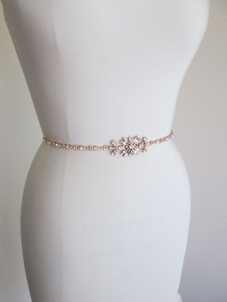 Rose gold skinny belt Skinny bridal belt sash by SabinaKWdesign