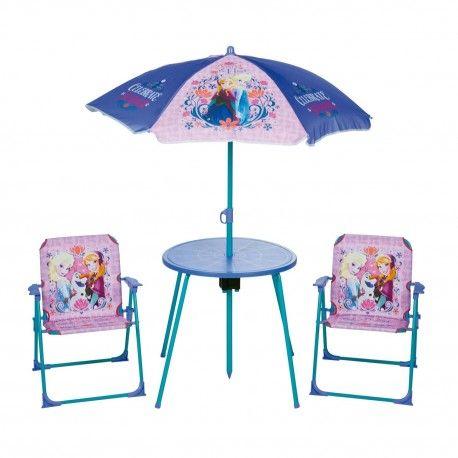 Tuinset in het thema van Frozen met 2 klapstoelen, 1 tafel en een parasol. Verpakking 78 x 50 x 10 cm. vanaf 3 jaar.