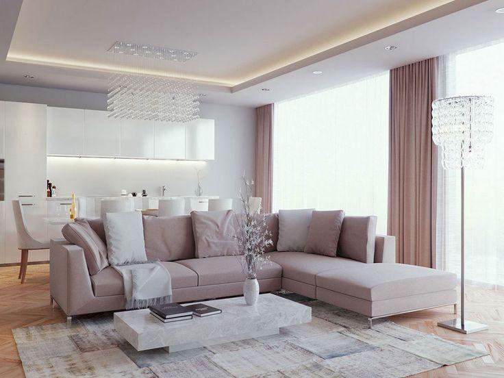 Матовый натяжной потолок в гостиную 22 кв.м
