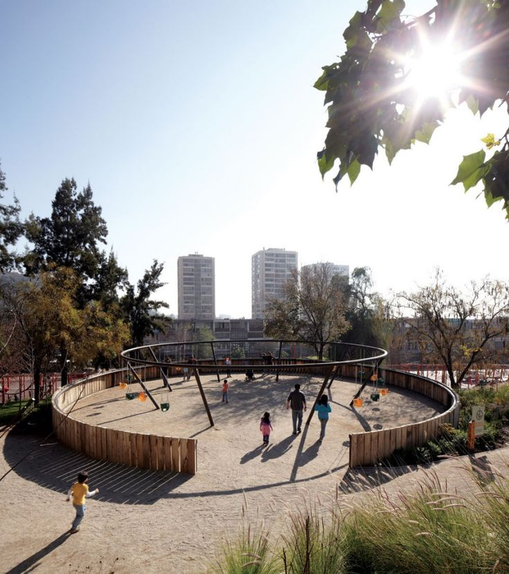 Children's Bicentennial Park in Chile | the initial phase of what will be a pedestrian promenade. Swing structure.