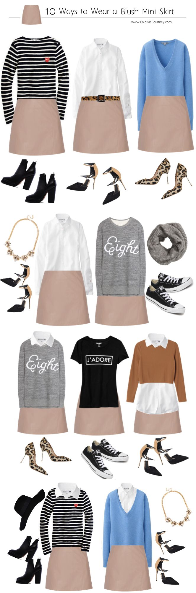 10 ways to wear a blush mini skirt - I think these could work with my tan pleated silk wrap skirt