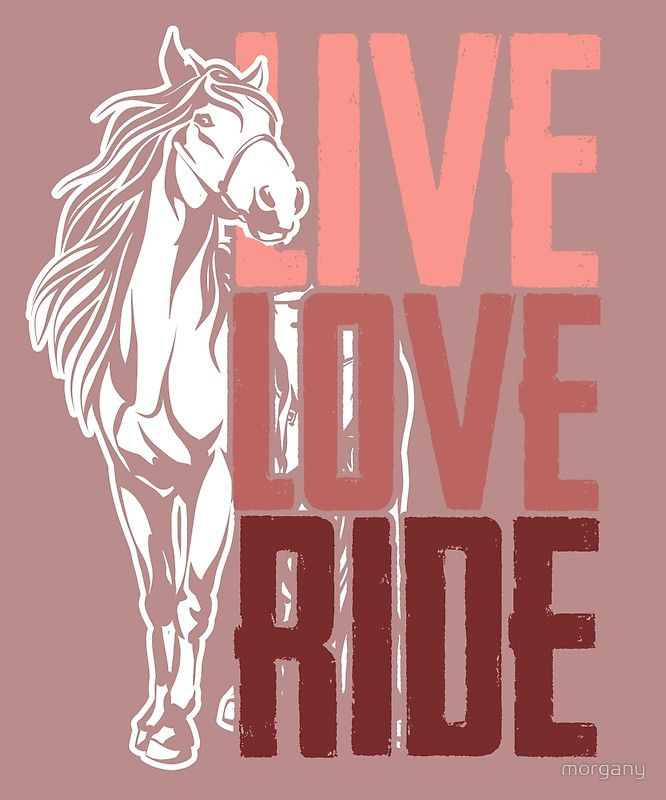 A design for all those horse lovers out there! / Live. / Love. / Ride. • Buy this artwork on apparel, phone cases, home decor, and more.