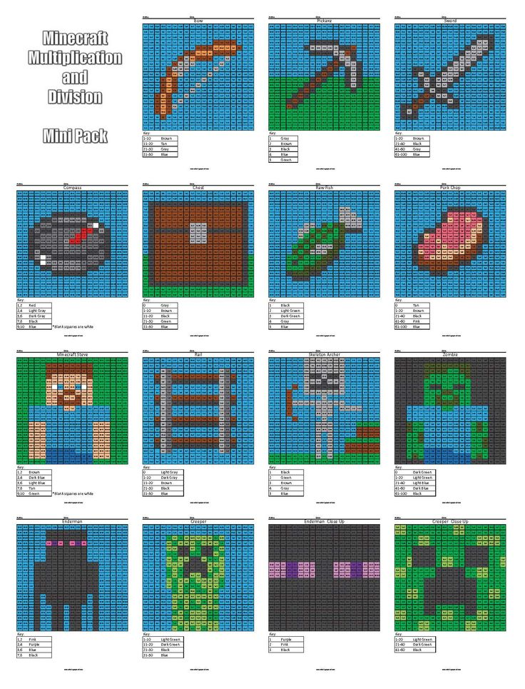 Minecraft multiplication and division coloring pages. Practice math facts while you color with these fun pixel puzzles.