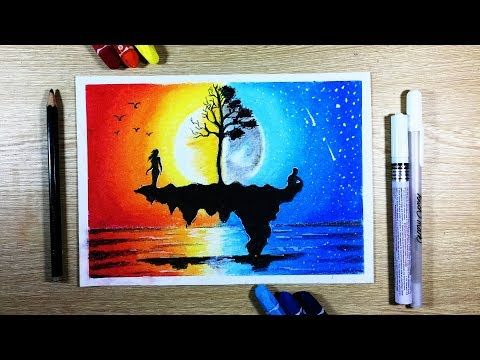 How To Draw Sunset Ft Moonlight Scenery With Oil Pastel