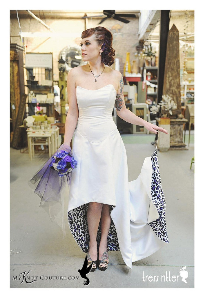 KC Kitty Von Lixon white satin short to long leopard lined wedding dress. $705.95, via Etsy.