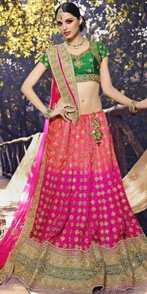 Sparkling Pink And Peach Silk Designer Lehenga Choli With Dupatta.