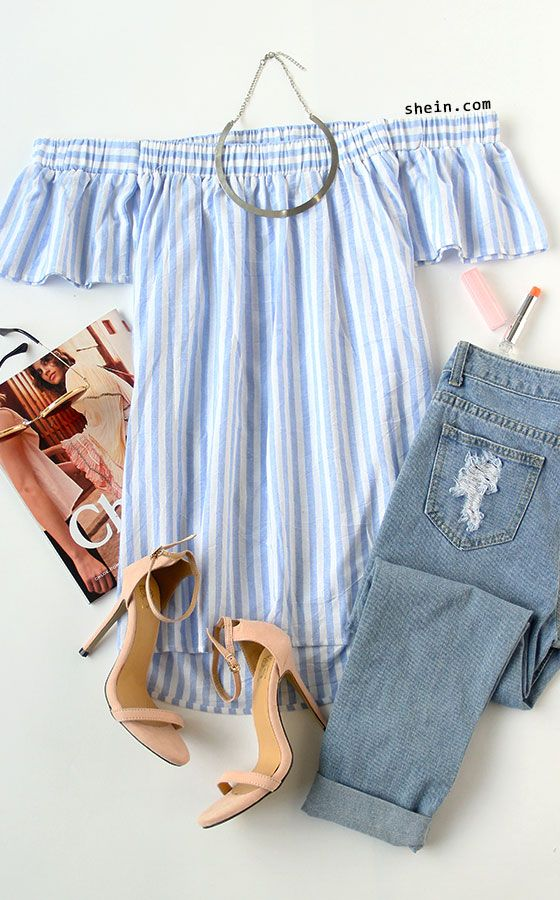 Casual chic style can be my favorite style now! Simple & adorable! Blue chambray shirt dress with ripped jean & heels. How can we not dress this for this summer!
