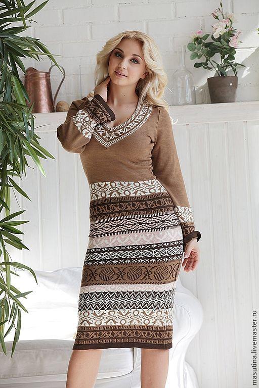 """Купить Платье """"Зимний сон"""" - коричневый, вязаное платье, Жаккардовый узор, жаккардовое платье"""