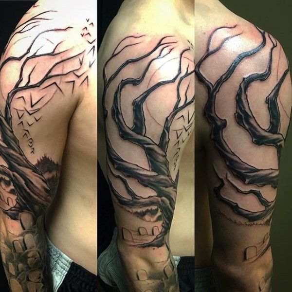 Tree Branches Graveyard Mens Half Sleeve Tattoos