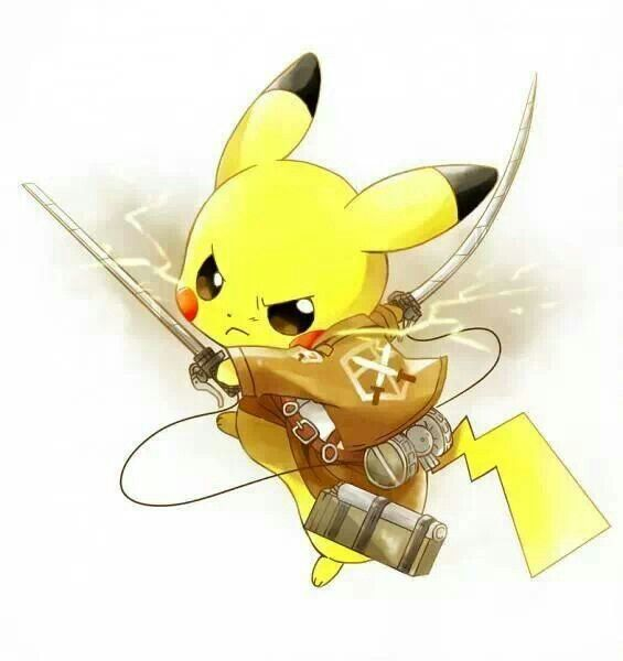 Attack on titan pikachu ^_^ too cute.
