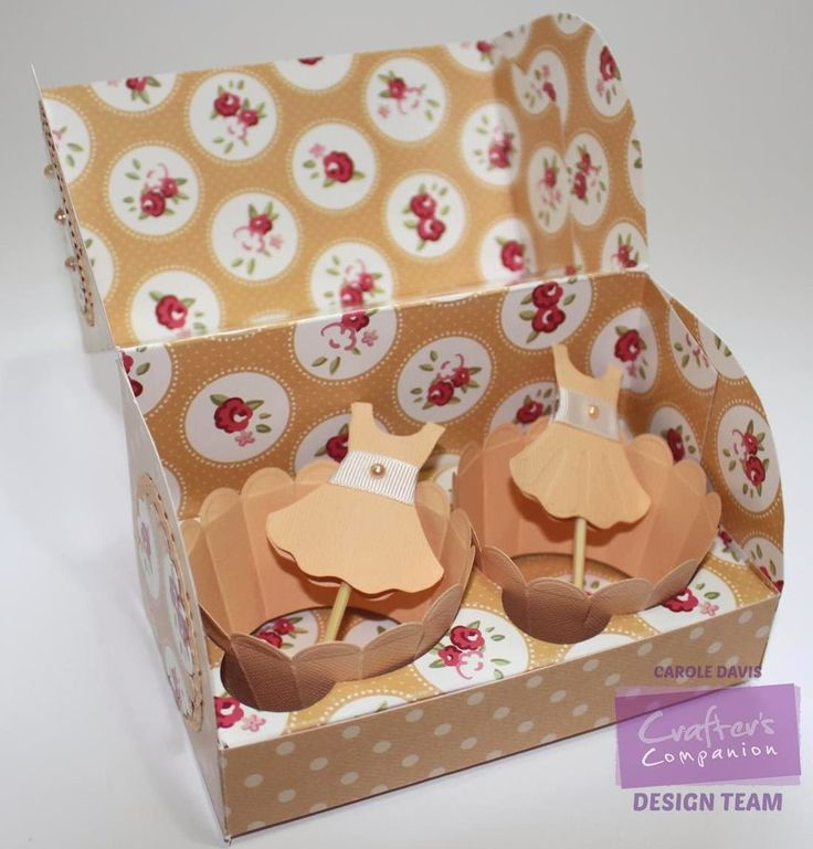 Cupcake Templates Twin Cupcake Presentation Box - Cupcake Templates CD Video Tutorial; Sweet Treats 3D Bows 2, Rosettes 2 - Sweet Treats CD Co-ordinating Paper 5 - A3 Sweet Treats Card - Orange Core'dinations Graphic 45 - Collall 3D Decoupage, Tacky Glues - Crafter's Companion Red Liner Tape - Die'sire Plain Scallop Wrapper - Cupcake Insert - Prom Dress - Essentials Circles - Essentials Scallop Circles - Embossalicious A4 Dottie