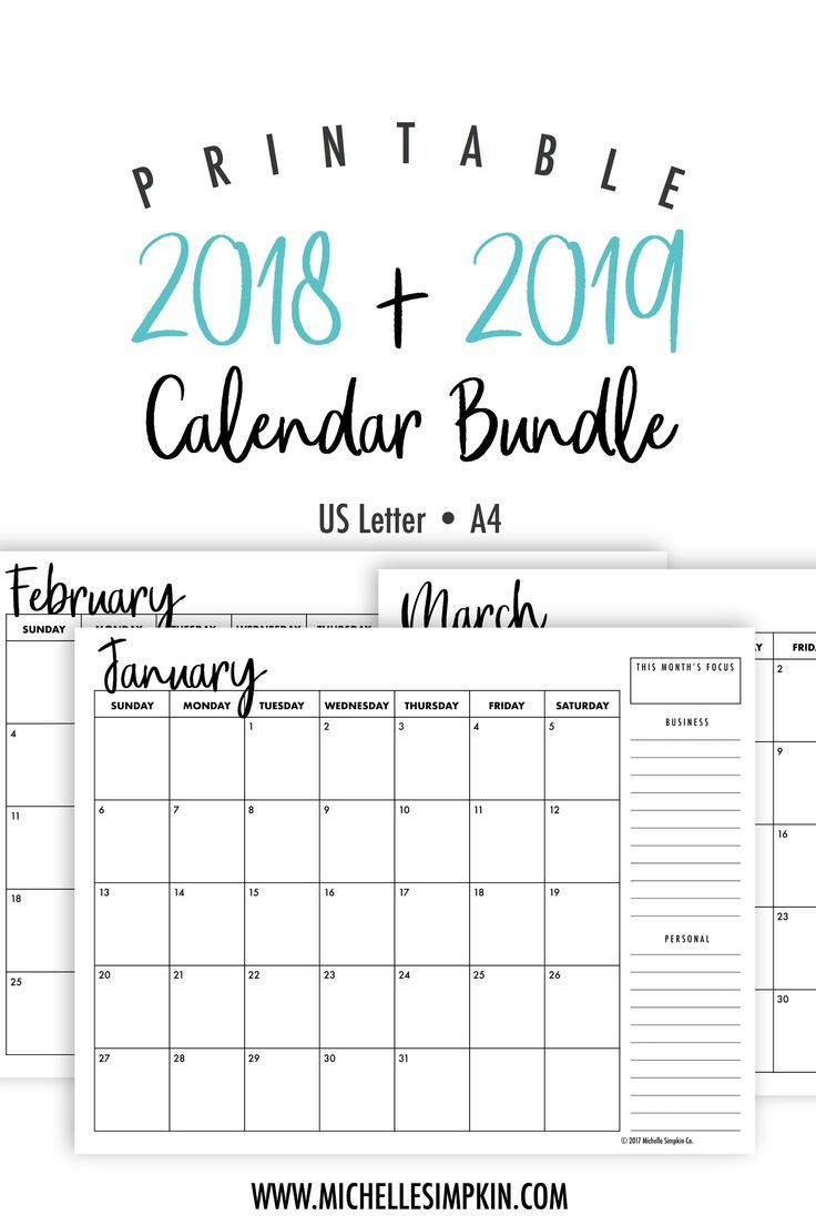 Cute December Calendar 2020 Printable 2019 & 2020 Printable Monthly Calendars Bundle • Landscape • US