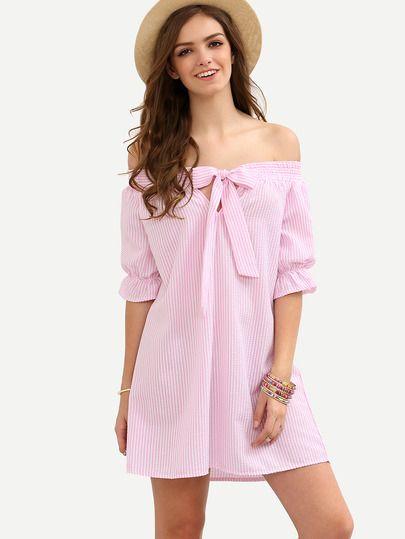 Vestido de tubo a rayas con lazo cuello barco - rosa