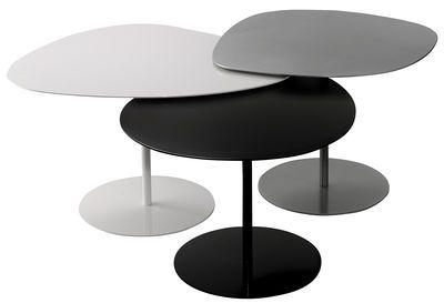Table basse 3 Galets / Set de 3 tables gigognes Noir, Blanc, Gris - Matière Grise 1000€