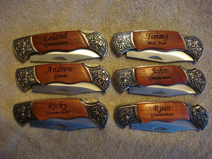 4 Personalized Engraved Pocket Knives. Perfect gifts for Best Man, Groomsman, Wedding Favor or Wedding Keepsake.. $88.00, via Etsy.