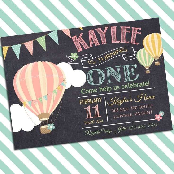 Hot Air Balloon Birthday Party Invitation -5x7 or 4x6 - Balloon Birthday Invitation by PrincessSnap on Etsy https://www.etsy.com/listing/226929278/hot-air-balloon-birthday-party